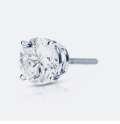 SINGLE STUD .75 Carat Round Basket Set Cubic Zirconia SCREWBACK Earring in 14K White Gold