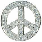 Sliding Peace Sign Pave Set Round Cubic Zirconia Pendant