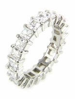Small .25 Carat Each Princess Cut Cubic Zirconia Shared Prong Set Eternity Band