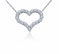 Small Open Heart Prong Set Round Cubic Zirconia Necklace