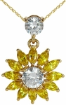 Sol Sunburst Simulated Canary Diamond Marquise Cubic Zirconia Pendant