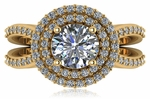 Soliera 1.5 Carat Round Cubic Zirconia Double Halo Split Shank Engagement Ring