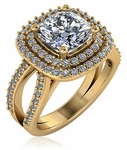 Soliera 2.5 Carat Cushion Cut Cubic Zirconia Double Halo Split Shank Engagement Ring