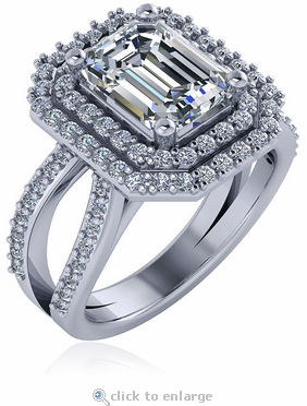 Soliera 2.5 Carat Emerald Step Cut Cubic Zirconia Double Halo Split Shank Engagement Ring