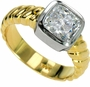 Solta 1.5 Carat Cushion Cut Cubic Zirconia Bezel Set Two Tone Solitaire Engagement Ring