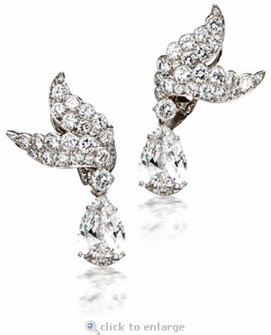 Sparrow 5 Carat Pear Cubic Zirconia Pave Set Round Winged Drop Earrings