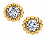 Sphera Beaded Halo 1 Carat Each Round Cubic Zirconia Stud Earrings