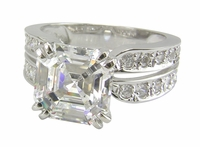 Spiga 4 Carat Asscher Cut Cubic Zirconia Double Prong Split Shank Solitaire Engagement Ring