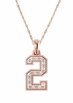 Sport Jersey Number Pave Cubic Zirconia Pendant