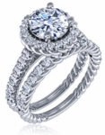 Spyra 1.5 Carat Round Cubic Zirconia Twisted Rope Pave Halo Cathedral Wedding Set