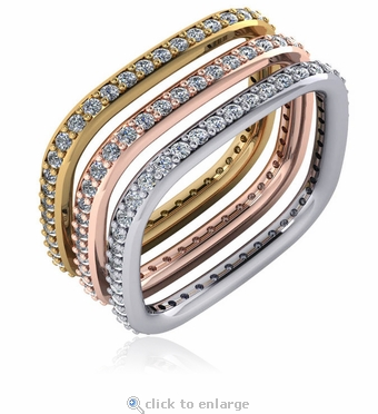 Square Shank Shape Pave Stackable Cubic Zirconia Eternity Band