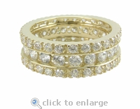 St. John Three Row Round Channel Set Cubic Zirconia Pave Eternity Band