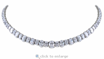Stafford Oval Cubic Zirconia Alternating Tennis Statement Necklace