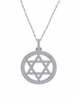 Star of David Halo Round Cubic Zirconia Pave Set Pendant