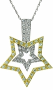 StarZ Pave Set Round Cubic Zirconia Double Star Two Tone Pendant