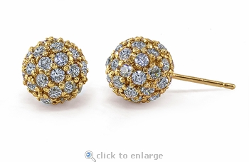 Studio 54 Round Cubic Zirconia Pave Set Disco Ball Stud Earrings