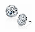 Stunner 3 Carat Round Cubic Zirconia Micro Pave Halo Stud Earrings
