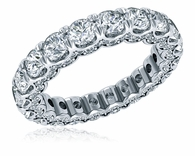 Supreme U Shaped Round Shared Prong Micro Pave Cubic Zirconia Eternity Wedding Band
