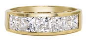 Suri Princess Cut Channel Set Cubic Zirconia Anniversary Band