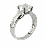 Suspended Princess Cut Cubic Zirconia Channel Set Solitaire Engagement Ring