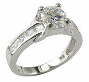 Suspended Round Cubic Zirconia and Channel Set Princess Cut Solitaire Engagement Ring
