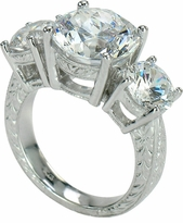 Sutton 4 Carat Round Three Stone Cubic Zirconia Engraved Ring