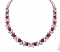 Sydney Marquise Star Alternating Round Cubic Zirconia Floral Statement Necklace