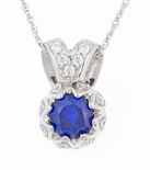 Syma Man Made Round Sapphire with Round Cubic Zirconia Pendant