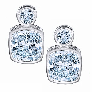Symba 1 Carat Each Cubic Zirconia Cushion Cut and Round Bezel Stud Earrings in 14K White Gold