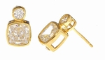 Symba 1 Carat Each Cubic Zirconia Cushion Cut and Round Bezel Stud Earrings in 14K Yellow Gold