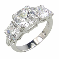 Symphony 2.5 Carat Asscher Cut Cubic Zirconia Three Stone Engagement Ring