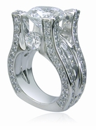 Taj 5.5 Carat Round Cubic Zirconia Channel Set Princess Cut Pave Solitaire Engagement Ring