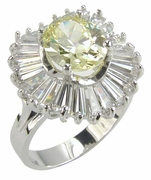 Tamron 1.5 Carat Canary Oval Cubic Zirconia Baguette Ballerina Cluster Ring