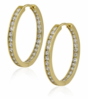 Taylor Inside Out Cubic Zirconia Channel Set Round Hoop Earrings
