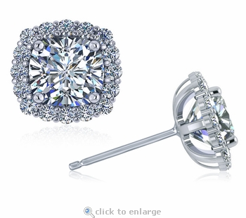 Terra Cushion Cut Square Cubic Zirconia Halo Stud Earrings