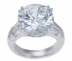 The Charis 7 Carat Round Cubic Zirconia Channel Set Baguette Split Prong Solitaire
