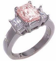The Jen Ring Inspiration 4 Carat Pink Emerald Step Cut Cubic Zirconia Three Stone Solitaire Engagement Ring