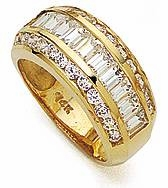 Three Row Channel Set Baguette Cubic Zirconia Wide Wedding Band