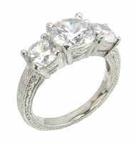 Three Stone 2 Carat Round Cubic Zirconia Engraved Antique Estate Style Anniversary Ring