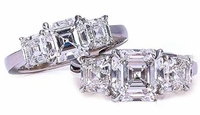 Three Stone Asscher Cut Cubic Zirconia Engagement Anniversary Rings