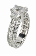 Three Stone Emerald Cut Cubic Zirconia Eternity Heaven Engagement Ring