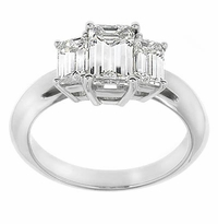 Three Stone Emerald Step Cut Cubic Zirconia Anniversary Engagement Rings