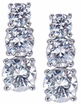 Three Stone Graduated Round Cubic Zirconia Anniversary Earrings