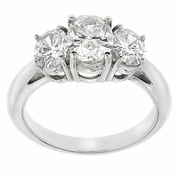 Three Stone Oval Cubic Zirconia Anniversary Engagement Rings
