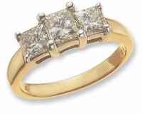 Three Stone Princess Cut 1.5 Carat Center Cubic Zirconia Anniversary Engagement Ring