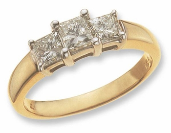 Three Stone Princess Cut Cubic Zirconia Anniversary Engagement Rings