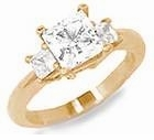 Three Stone Princess Cut Special Cubic Zirconia Anniversary Engagement Ring