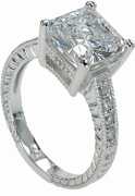 Tiburon Engraved Princess Cut Cubic Zirconia Engagement Ring