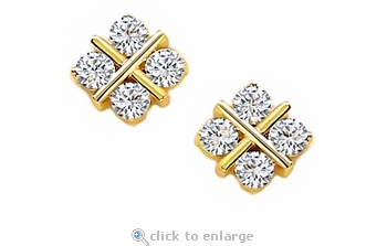 Tic Tac Toe Cubic Zirconia X and O Hugs and Kisses Stud Earrings