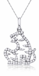 Tiger Chinese Animal Cubic Zirconia Pave Set Round Zodiac Pendant